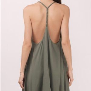 Olive Green Backless Braided Dress